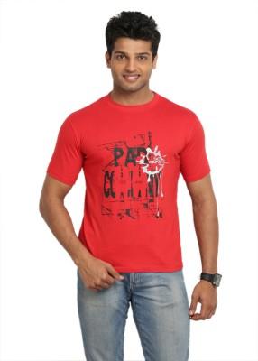 John Caballo Printed Men's Round Neck Red T-Shirt