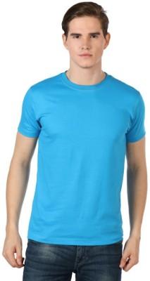 Shootr Solid Men's Round Neck Light Blue T-Shirt