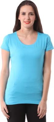 Fashionexpo Solid Women's Round Neck Light Blue T-Shirt