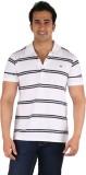 CFT Striped Men's Polo Neck White T-Shir...