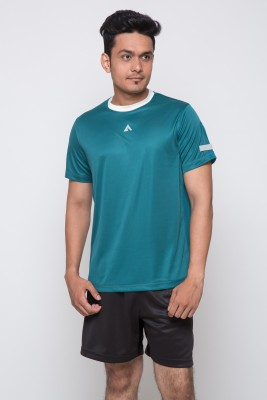 Acetone Solid Men's Round Neck Green, Silver T-Shirt