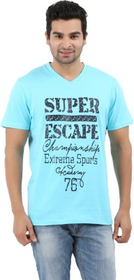 Donz Printed Men's V-neck Light Blue T-Shirt