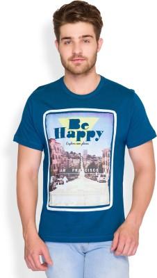 Parx Printed Men's Round Neck Blue T-Shirt