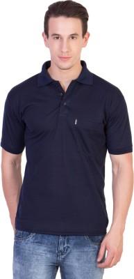 Ruby Wears Solid Men's Polo Blue T-Shirt