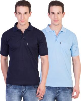 Ruby Wears Solid Men's Polo Neck Blue, Light Blue T-Shirt