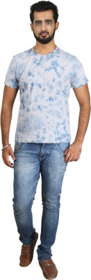 Pick Indiana Military Camouflage Men's Round Neck Light Blue T-Shirt