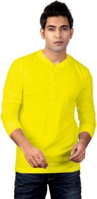 ILBIES Solid Men's Henley Yellow T-Shirt
