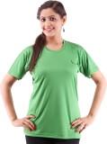 Miauw Solid Women's Round Neck Green T-S...