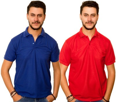 Dreamz Clothing Co Solid Men,s Polo Neck Blue, Red T-Shirt