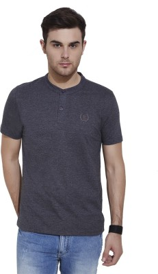 Urban Nomad By INMARK Solid Men's Henley Black T-Shirt