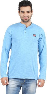 Danteez Solid Men's Henley Blue T-Shirt