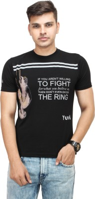 Yuvi Printed Men's Round Neck Black T-Shirt