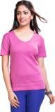 TVENO Solid Women's V-neck Pink T-Shirt