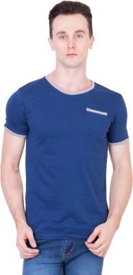 Ganzm Solid Men's Round Neck Blue T-Shirt