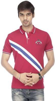 Vettorio Fratini Striped Men,s Polo Neck Red T-Shirt