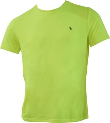 Ralph Lauren Solid Men's Round Neck Yellow T-Shirt