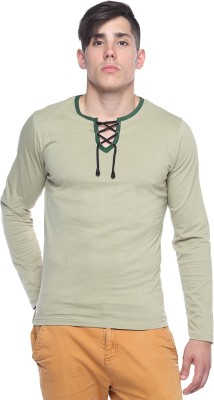 Pepperclub Solid Men's Round Neck Light Green T-Shirt