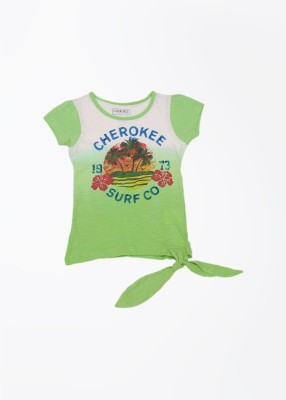 Cherokee Kids Printed Girl's Round Neck Green T-Shirt