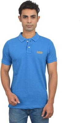 London Eye Solid Men,s Polo Neck Light Blue, Yellow T-Shirt