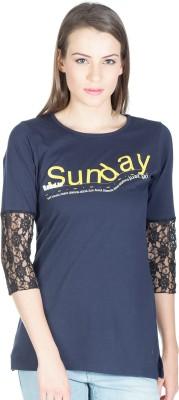 Miss Chick Solid Women's Round Neck Black T-Shirt