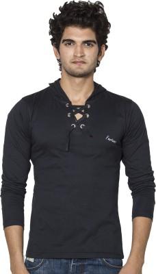 Amp Colors Solid Men's Hooded Black T-Shirt