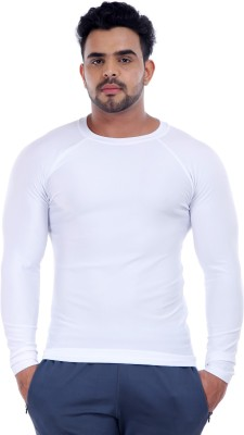 Addicted Solid Men's Round Neck White T-Shirt