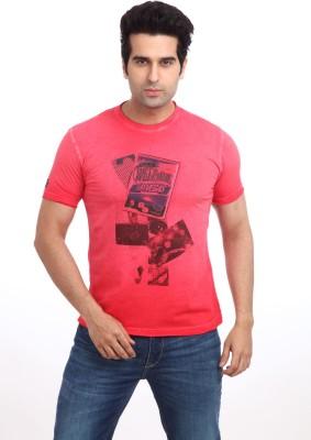 Parx Printed Men's Round Neck Red T-Shirt