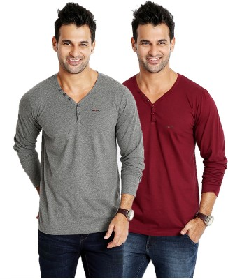 Rodid Solid Men's V-neck Grey, Maroon T-Shirt