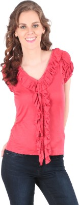 Remanika Solid Women's V-neck Pink T-Shirt
