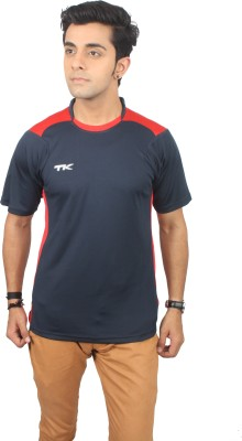 TK Solid Men's Polo Neck Dark Blue, Red T-Shirt
