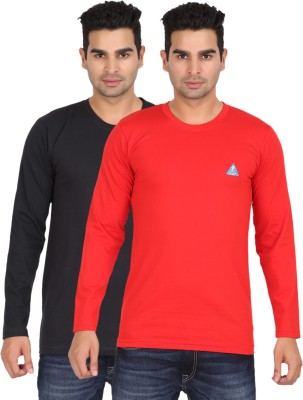 Lyril Solid Mens Round Neck Red, Black T-Shirt
