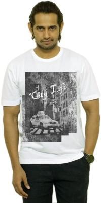 Opiumstreet Printed Men's Round Neck White T-Shirt