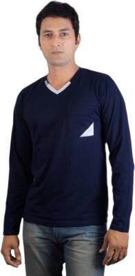 Vagga Solid Men's V-neck Blue T-Shirt