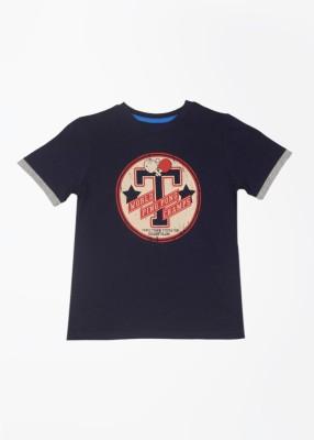 Mothercare Printed Boy's Round Neck Dark Blue T-Shirt