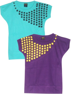 Cute Raskals Solid Girl's Round Neck Blue, Purple T-Shirt