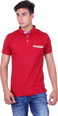 Heritage Denim Solid Men's Mandarin Collar Red T-Shirt