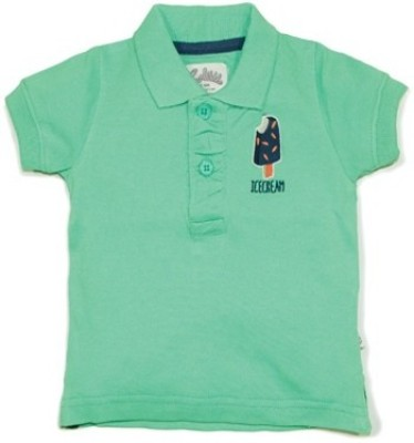 Solittle Embroidered Boy,s Polo Neck Green T-Shirt
