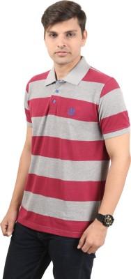 zing polowear Striped Men's Polo Grey, Maroon T-Shirt