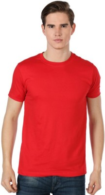 Shootr Solid Men's Round Neck Red T-Shirt