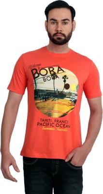 Urban Republic Printed Men's Round Neck Orange T-Shirt