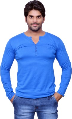 Style In Solid Men's V-neck Blue T-Shirt