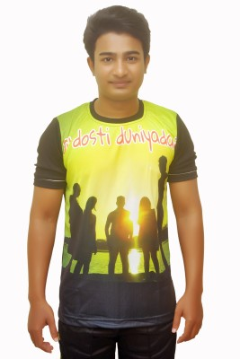 Dyed Colors Printed Men's Round Neck Black T-Shirt
