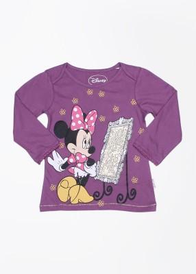 Mickey & Friends Printed Girl's Round Neck Purple T-Shirt