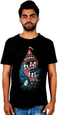 Pulpypapaya Printed Men's Round Neck Black T-Shirt