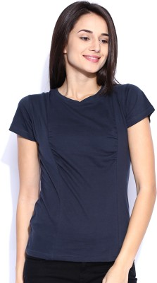 Le Bison Solid Women's Round Neck Blue T-Shirt