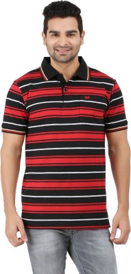 6P6 Striped Men's Polo Neck Multicolor T-Shirt