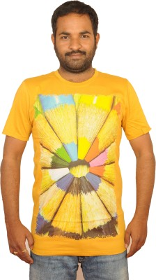 I Am Back Printed Men's Round Neck Yellow T-Shirt