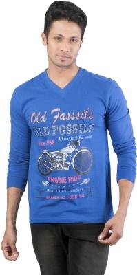 Oviyon Printed Men's V-neck Blue T-Shirt