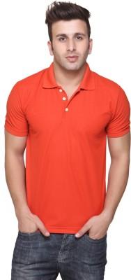 Burdy Solid Men's Polo Neck Orange T-Shirt