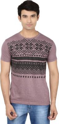 Minute Merge Printed Men's Round Neck Purple, Black T-Shirt
